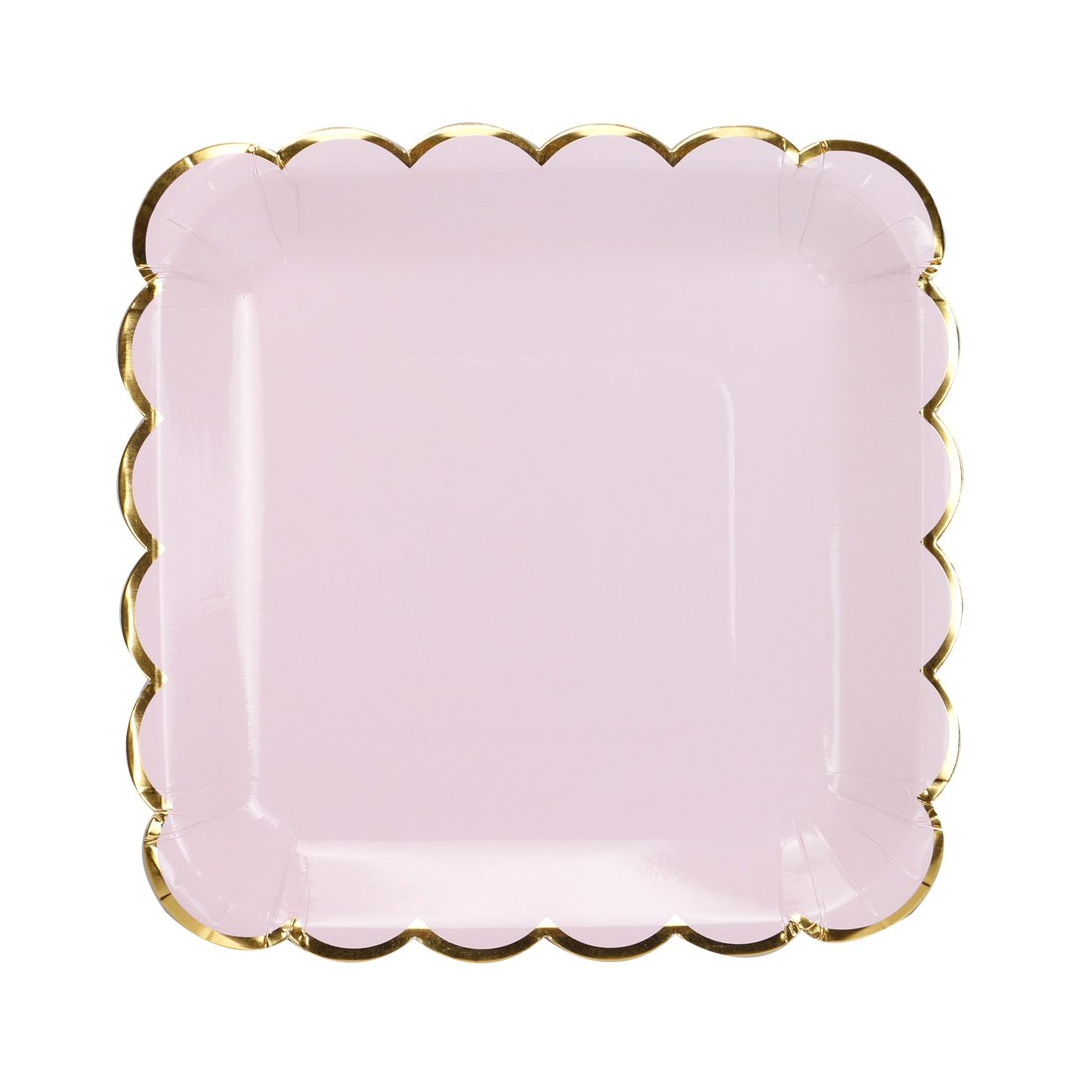 Geeklife Gold Paper Party Plates, Metallic Gold Border 9 inch Paper Dessert Plates, Pink Cute Decorative Plates Set, 20 count