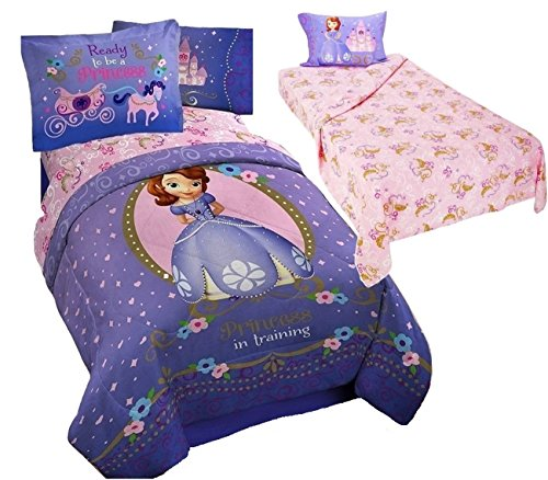 Disney Sofia The First Princess 6pc Twin Size Bedding (Comforter, Two Pillow Shams & 3pc Sheet Set) Sophia
