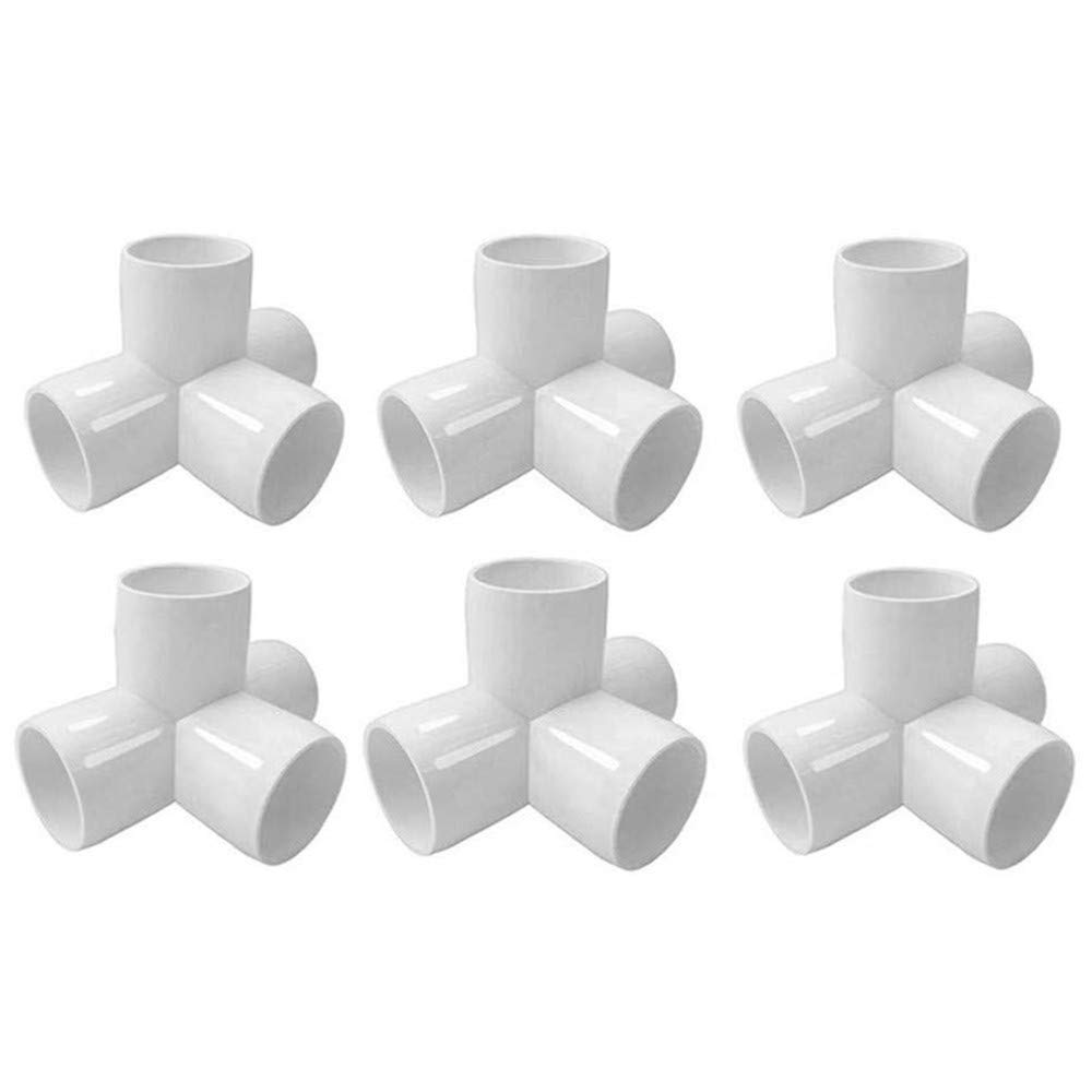 "Linksworld PVC Corner Fitting VC Elbow Corner Side Outlet Tee Fitting PVC Three Quarter Elbow Fittings for Furniture Grade,Greenhouse shed Pipe Fittings and Tent Connection (4 Way 3/4"" 6pcs)"