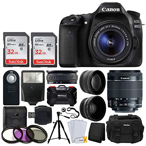 Canon EOS 80D DSLR Camera Body (Black) + EF-S 18-55mm f/3.5-5.6 is STM Lens + 58mm 2X Telephoto & Wide Angle Lens + 64GB Memory Card + Photo4Less Case + Wireless Remote + Slave Flash + Filter Kit]()