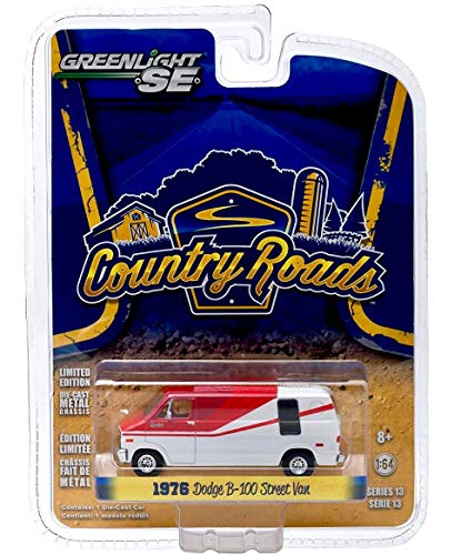 Country Roads 1976 Dodge B-100 Street Van (Red & White) Series 13 - Greenlight 1:64 Scale Limited Edition 2015 Die-Cast Vehicle ()