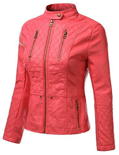 J.TOMSON Womens Faux Leather PU Moto Jacket PINK SMALL
