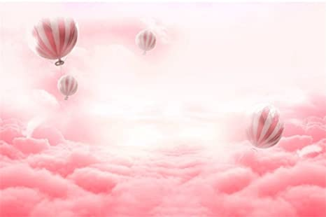 LFEEY 9x6ft Pink Hot Air Balloon Back Drop Fantasy Kids Birthday Party Events Decoration Newborn Baby