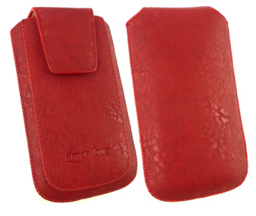 Emartbuy® Sparkling Pack Stylet Pour Apple Iphone 3G / 3Gs Classique Gamme Rouge De Luxe En Cuir Pu Faites Glisser Pouch / Case / Sleeve / Support (Taille XL) Avec Rabat Magnétique Et Pull Mécanisme T