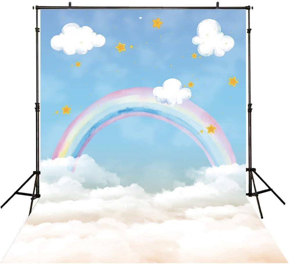 6x6FT Vinyl Photo Backdrops,Unicorn,Motivational Text Rainbow Photo Background for Photo Booth Studio Props