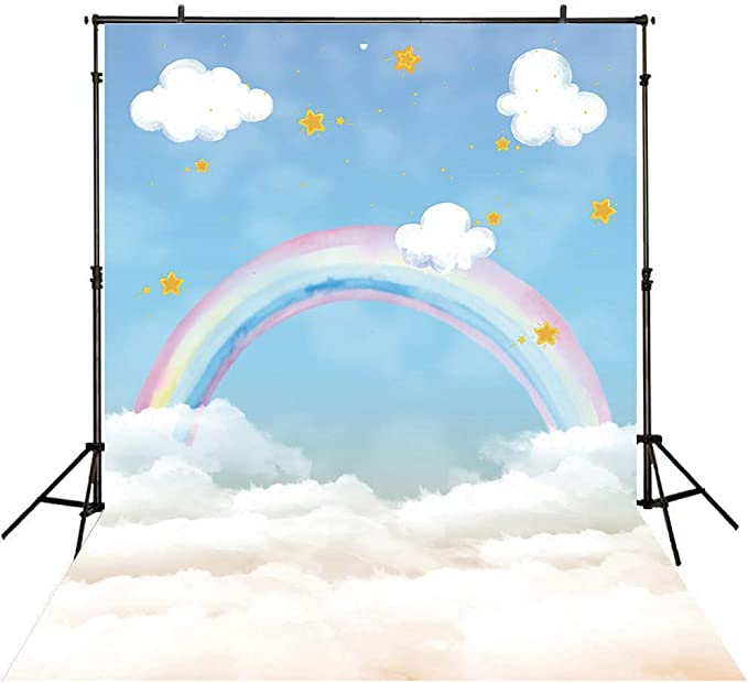 Outline Heart Drawings in Rainbow Colors Love Modernistic and Party Backdrop Photography Background Baby Adult Abstract Banner Cake Table Decoration Photo Booth AM026853 ALUONI 5x3ft Pride
