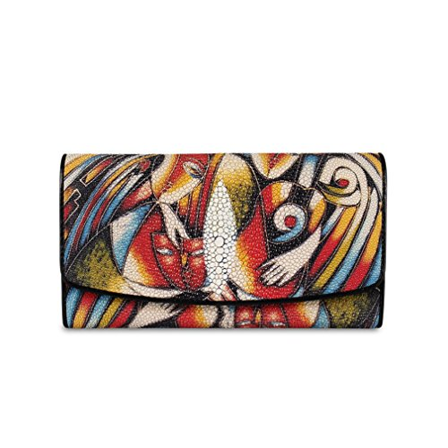 Stingray Genuine Leather Wallet For Women Trifold Long Wallet by Ecofish