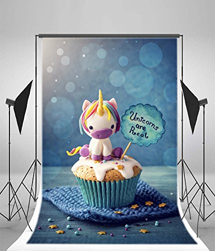 Laeacco 3x5ft Vinyl Photography Background Unicorn Cupcakes Background Unicorn are Real Happy Birthday Party Newborn Baby Toddlers Girls Boy Fantasy Cake Cute Sweet Love Blur Blue Bokeh Background