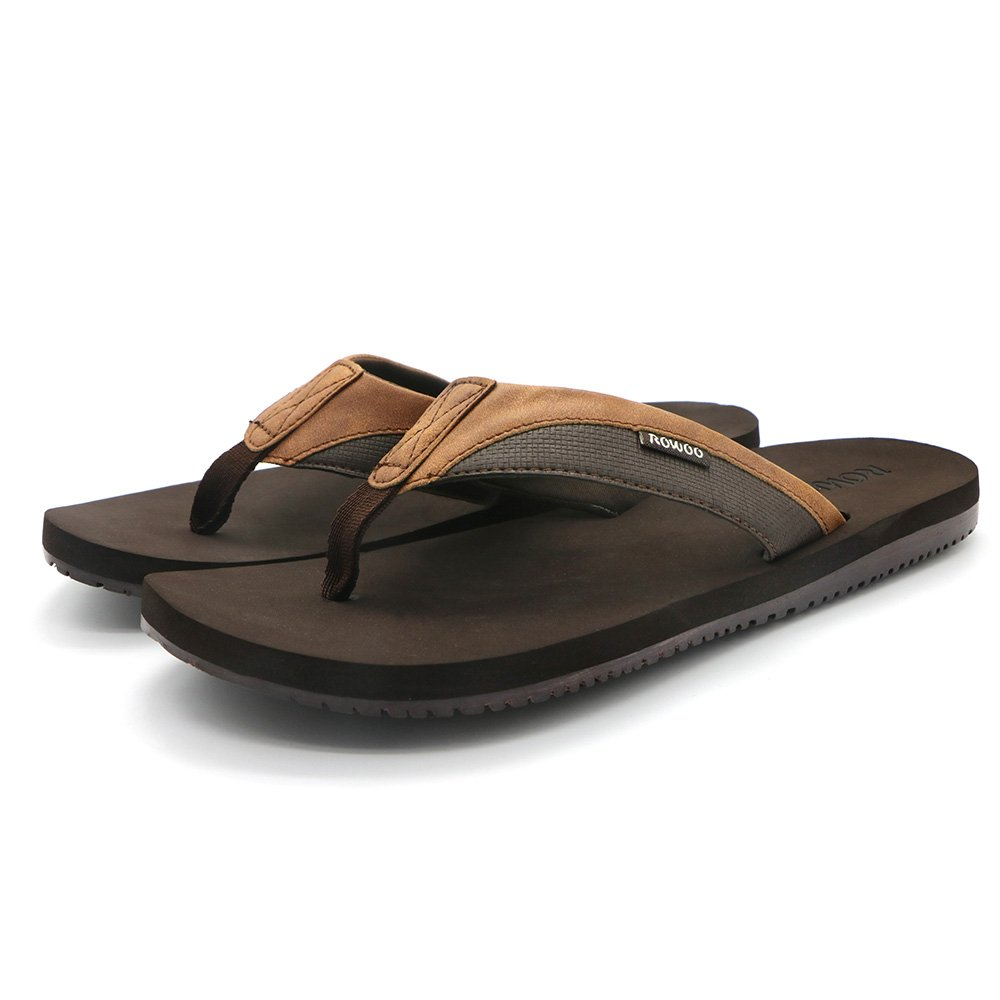 HUMMOO Men's Classic Summer Flip Flops - Thong Athelic Sandals (42 EU/ 9 US, Brown) by HUMMOO (Image #7)