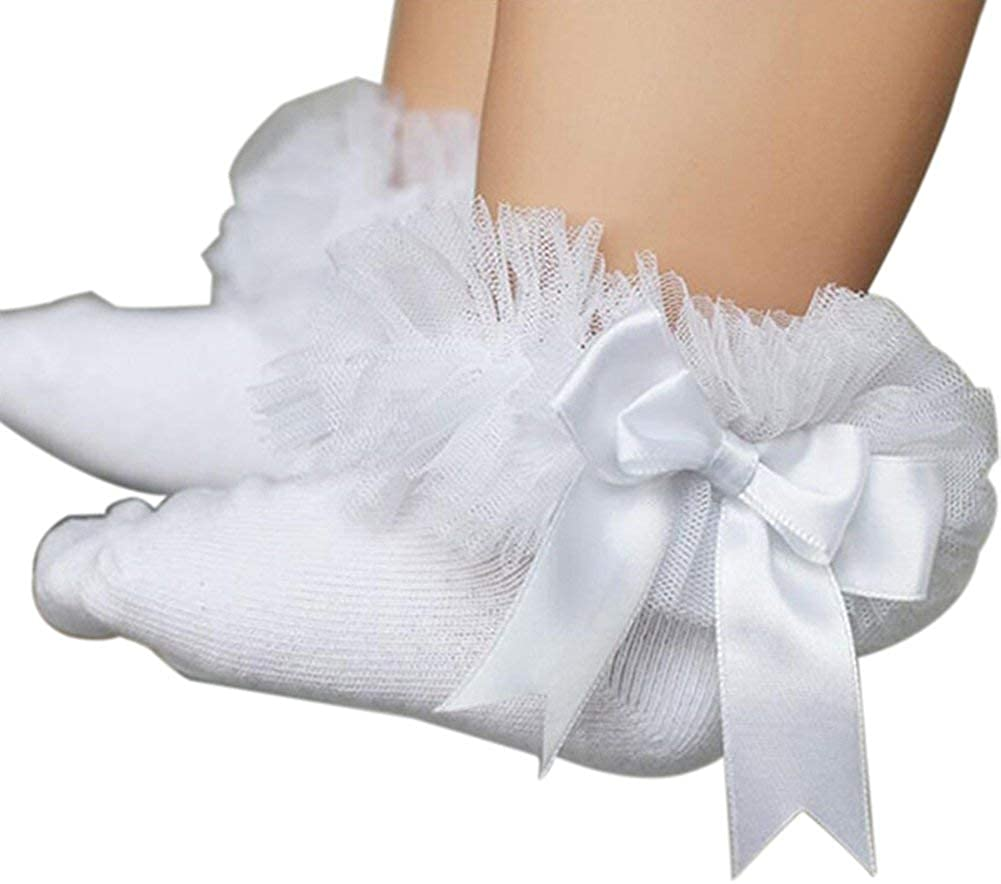 Ruffle Girls Frilly Sock Ankle Princess Kids Lace Trim Baby Infant Socks Bowknot