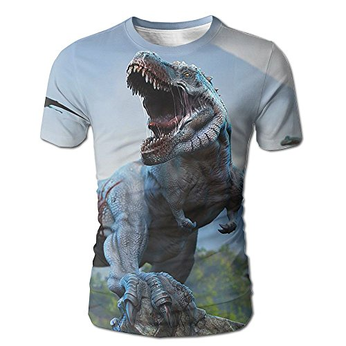 Dinosaur's Howling Men Casual Short Sleeve T-Shirts Graphic Crew Neck Tops