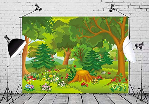 BELECO 7x5ft Cartoon Forest Backdrop Fairytale Forest with Flowers Mushroom Phtography Backdrop for Birthday Party Decoration Baby Shower Kids Game Photoshoot Photo Background Props (Forest Flowers Large)