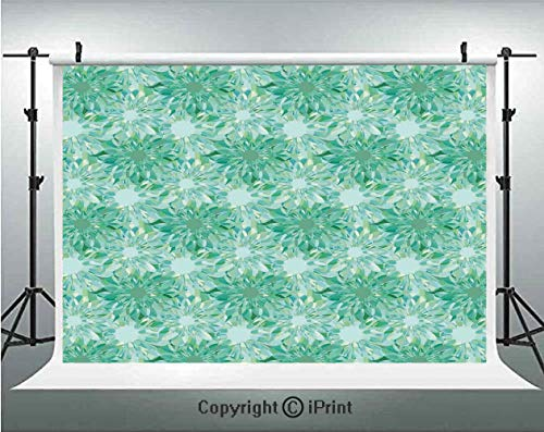 (Turquoise Decor Photography Backdrops Floral Pattern With Beryl Crystal Guilloche Flowers Carving Art Decorating Image Print,Birthday Party Background Customized Microfiber Photo Studio Props,5x3ft,Gr)