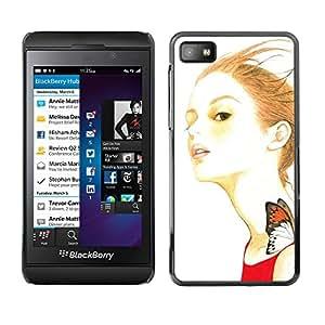 QCASE / Blackberry Z10 / mariposa chica jengibre vestido de pelo rojo la naturaleza / Delgado Negro Plástico caso cubierta Shell Armor Funda Case Cover
