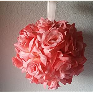 Coral Reef Silk Rose Kissing Ball - Wedding Decoration 25