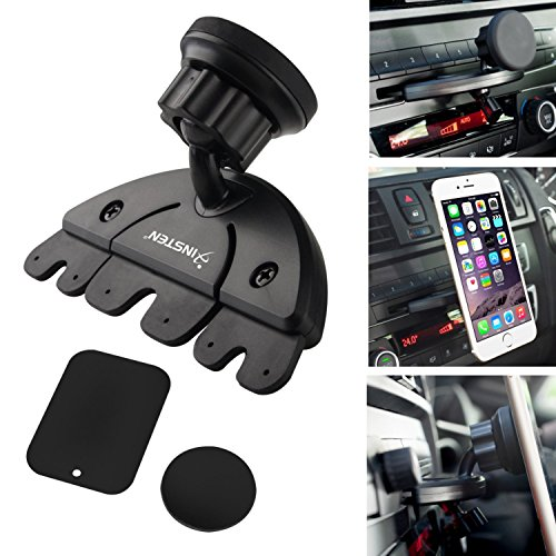 Insten Universal CD Player Slot Magnetic Mobile Phone Car Mount Holder For Nexus 6P; Nexus 5X; Samsung Galaxy S8 / S8+ S8 Plus / S7 Edge, LG G4 / G6, Apple iPhone X/8/8 Plus 7/7 Plus /6S Plus