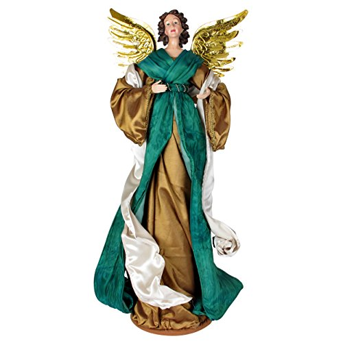 Angel Christmas Figure (32 Inch Green Fabric Christmas Angel Holiday Figure. Tall Indoor Ornament Doll for Treetop and Home Decoration. Ideal gift for the holidays or any occasion.)