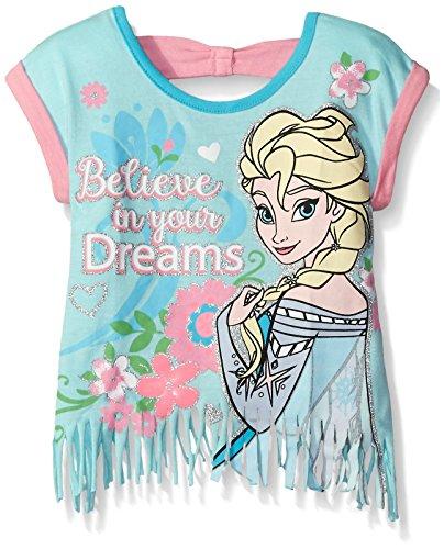 Disney Little Girls' Toddler Frozen Fashion T-Shirt With Fringe Design, Light Blue, 3T
