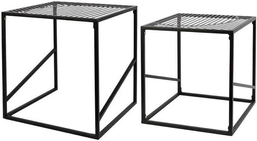 Stile industriale Set di 2 tavolini in metallo NERO Colore