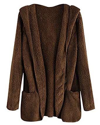 ZAFUL Fluffy Hooded Open Front Sherpa with Pocket Teddy Outwear Winter Brown