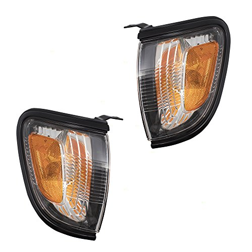(Pair Set Park Signal Corner Marker Lights w/Black Trim Replacement for 01-04 Toyota Tacoma Pickup Truck 8162004090C0 8161004090C0 AutoAndArt)