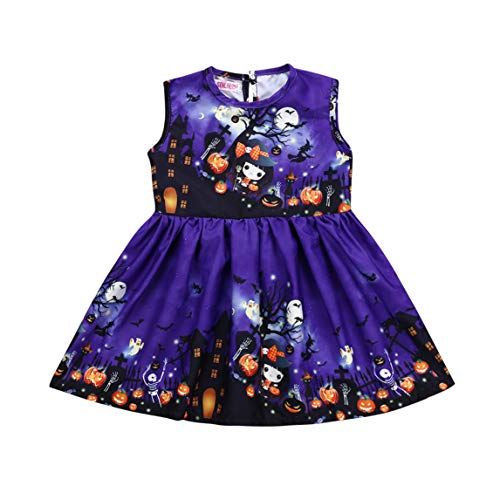 Toddler Kid Girls Bat Zombie Pumpkin Print Sleeveless Dress Baby Halloween Outfit Clothes Party Sundress (5T, Purple -
