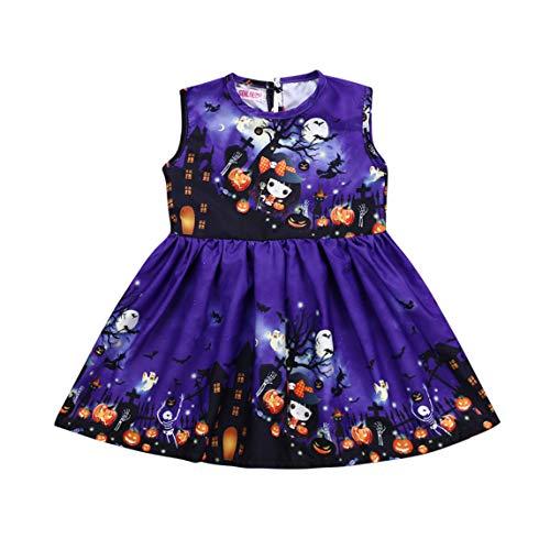 Toddler Kid Girls Bat Zombie Pumpkin Print Sleeveless Dress Baby Halloween Outfit Clothes Party Sundress (5T, Purple Dress) -