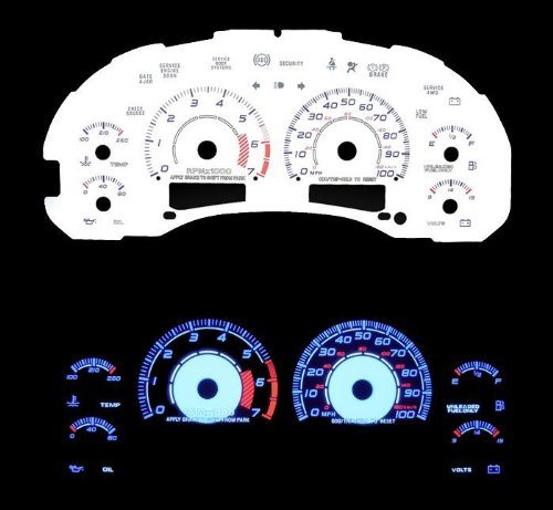 98-03 Chevy S10 At W/7000 RPM White Glow El Gauges