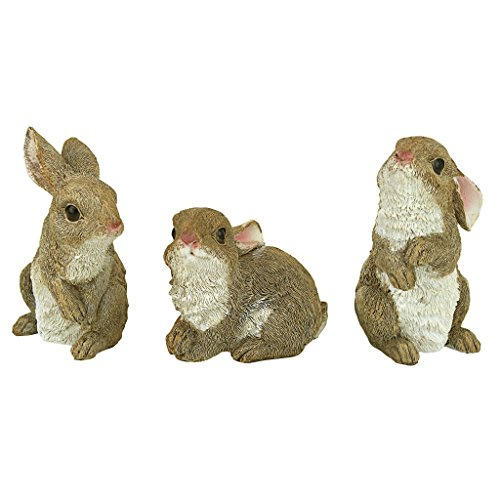Design Toscano The Bunny Den Rabbits Garden Animal Statues, 5 Inch, Set of Three, Polyresin, Full Color ()