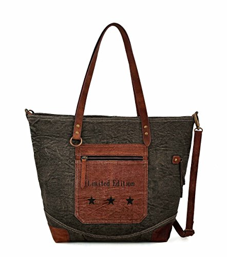 (Tote bag for Women, Unique Design, Made of Canvas and Leather, Eco friendly bag, Handbags for Women by Daphne (Double Chain))