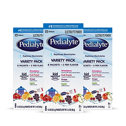 - Pedialyte Electrolyte Powder, Variety Pack, Electrolyte Hydration Drink, 0.3 oz Powder Packs, 24 Count