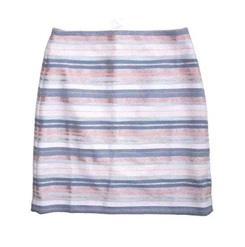 Ann Taylor LOFT - Women's - Poolside Blue Shimmery Striped Jacquard Shift Skirt (Blue/Pink, 18)