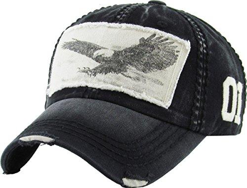 KBVT-573 BLK Eagle Vintage Distressed Dad Hat Baseball Cap Adjustable (Vintage Style Cap Hat)
