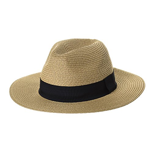 WITHMOONS Fedora Panama Hat Black Banded Wide Brim Cool Summer SL6690 (Banded Straw Fedora Hat)