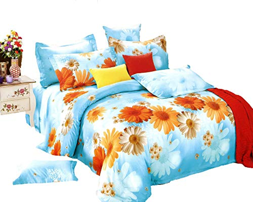 Cheap  Swanson Beddings Sunny Blue Daisy 3-Piece 100% Cotton Bedding Set: Duvet Cover..