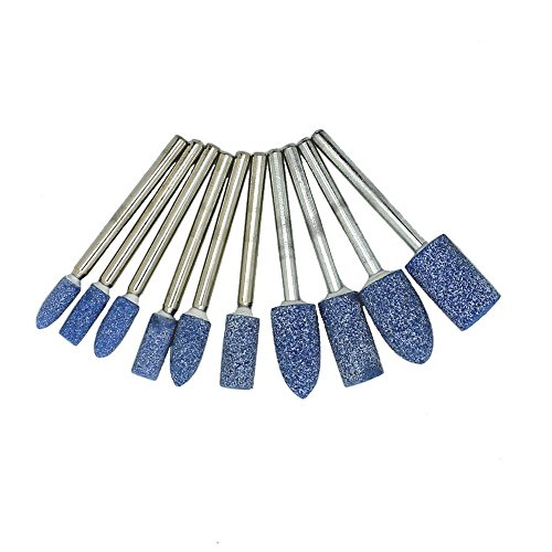 Happy E-life 1/8 Inch Shank Abrasive Mounted Stone Grinding Wheel Head for Dremel Rotary Kit Pack of 10pcs