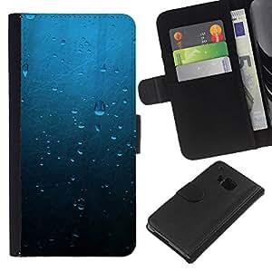 LECELL--Cuero de la tarjeta la carpeta del tirón Smartphone Slots Protección Holder For HTC One M9 -- Gotas de agua --