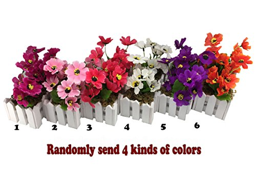 Wire Spray Collar Necklace (Conjugal Bliss 4pc Fence Daisy Chrysanthemum Sunshine Artificial Flowers For Home Balcony Bedroom Office Party Decoration Mini Wooden Fence Plastic Flower- - Color Sent Random (Multicolor))