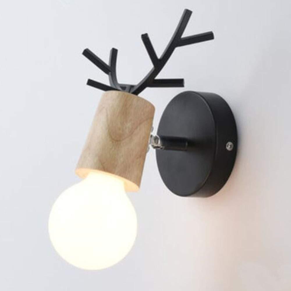 A(wood-schwarz)1622cm DRQ LED Moderne Minimalistische Eisen-Wandleuchte-kreativer Durchgang-Korridor-Schlafzimmer-Nachttisch-Wandleuchte,A(Wood-schwarz) 16  22cm