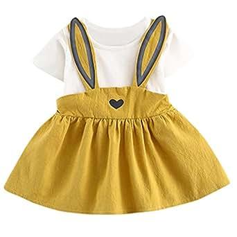 K-youth Vestidos Niña Niña Tutú Princesa Mono Bebé Niña Lindo Conejo Vendaje traje Mini Tutú Princesa Vestido Ropa Bebe Niña Vestido Bebe Niña Ceremonia Bautizo Fiesta 0-24 mes (Amarillo, 0-6 meses)