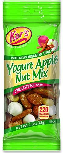 Kar's Yogurt Apple Nut Trail Mix 1.5 oz Single Serving Bags - A Blend of Honey Peanuts, Greek Yogurt Covered Raisins, Sesame Sticks, Cinnamon Apple Pieces, Butter Toffee Peanuts & Almonds (Pack of 72)