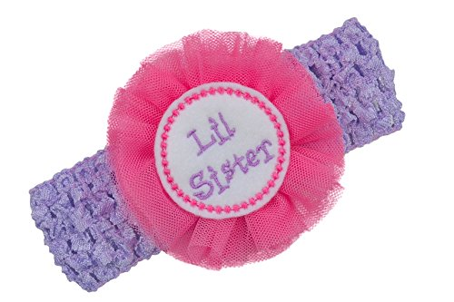 Head Emb - Little Sister Headband with Embroidered Felt Appliqué and Tulle Flower Funny Girl Designs (Crochet Band Fits Newborn to 5 YR)