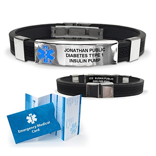 Silicone Designer Medical ID Bracelet (incl. 6 lines of custom engraving). Choose Your Color! ()