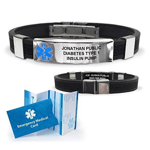 Silicone Designer Medical ID Bracelet (incl. 6 lines of custom engraving). Choose Your Color! - Designer Bracelets Medical Alert