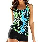 ZOMUSA Hot Sale Women's Plus Size Floral Push Up Halter Tankini Set Two Piece Swimsuit (Green, XXXL)