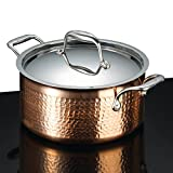 Lagostina Q5544664 Martellata Tri-ply Hammered Stainless Steel Copper Dishwasher Safe Oven Safe Stewpot Cookware, 5-Quart, Copper