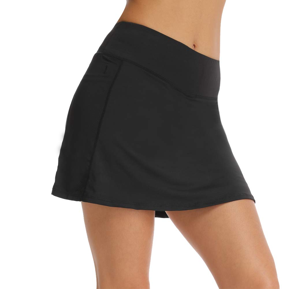 Ultrafun Women Athletic Sports Skort Stretchy Tennis Golf Skirt with Inner Shorts Pocket for Running Fitness Workout (Black, Small) by Ultrafun