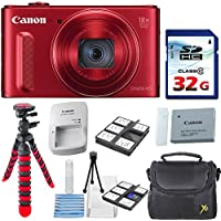 Canon PowerShot SX610 HS - Wi-Fi Enabled (Red) with 32GB High Speed Memory Card + Deluxe Accessory Bundle