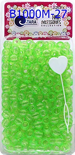 Tara Metallic Color 12 MM Plastic Beads For Braid Hair 240 Pieces In One Pack (Pack of 1, GLITTER GREEN)