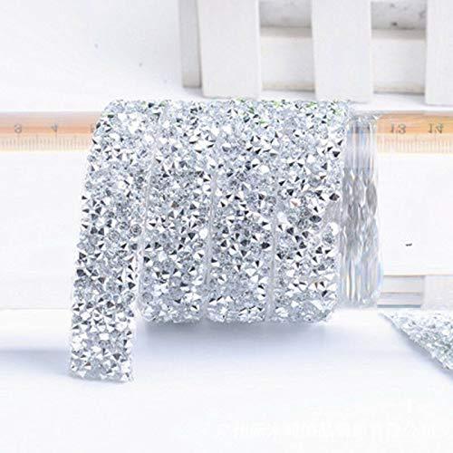 MOPOLIS Sparkles Resins Plastic Iron On Applique Trim Wedding Bridal Dress Embellishment | Color - Silver ()